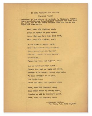 To Dead Fighters for Freedom (Funeral Chant) [broadside]. Herbert MAHLER