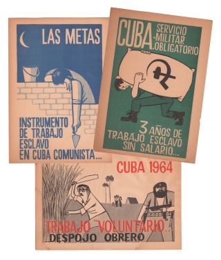Three illustrated anti-Castro flyers from the Cuban exile organization F.O.R.D.C. (Frente Obrero...