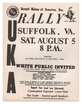 United Klans of America, Inc. RALLY, Suffolk, VA., Sat. August 5, 8 P.M