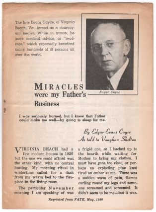Miracles Were My Father's Business. Edgar Evans CAYCE