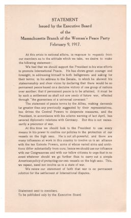 Statement Issued By the Executive Board of the Massachusetts Branch of the Woman's Peace Party,...