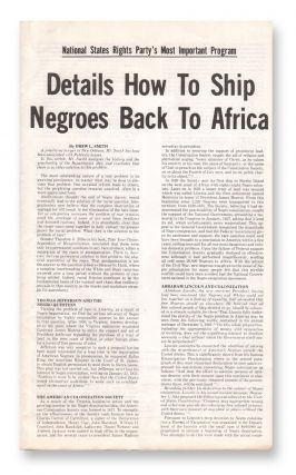 Details How to Ship Negroes Back to Africa. Drew L. SMITH, National States Rights Party