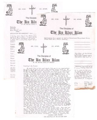 A small collection of material from the Disciples of the Ku Klux Klan