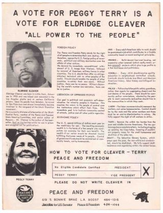 "A Vote for Peggy Terry is a Vote for Eldridge Cleaver ""All Power to the People"""