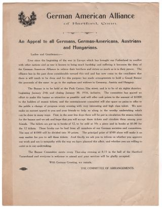 An Appeal to all Germans, German-Americans, Austrians and Hungarians. The Committee of Arrangements