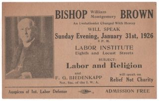 A promotional card for a lecture by the radical Bishop, William Montgomery Brown