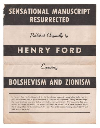 Bolshevism and Zionism [Sensational Manuscript Resurrected Published Originally by Henry Ford...