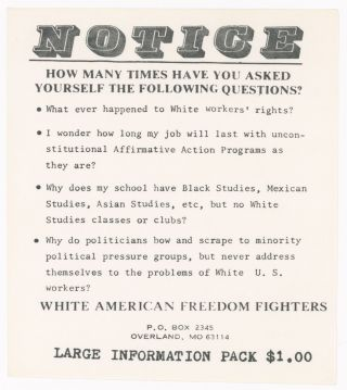 A small White American Freedom Fighters leaflet